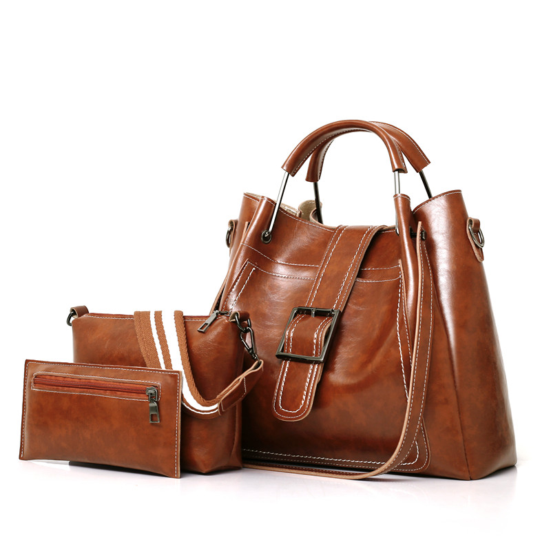 Hobos Women Bags Set 3 Pcs Leather Handbags Casual Shopping Bags Ladies Brand Designer Shoulder Bags Handbag+Messenger Bag+Purse