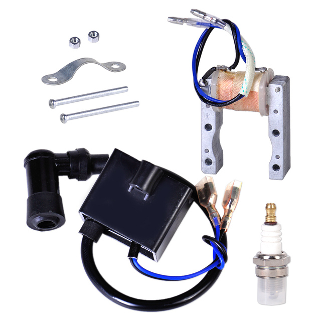 Motorcycle Ignition Coil+Magneto Stator+Spark Plug Fit for 49cc 50cc 60cc 80cc 2 Stroke Engine Motor Motorized Bicycle