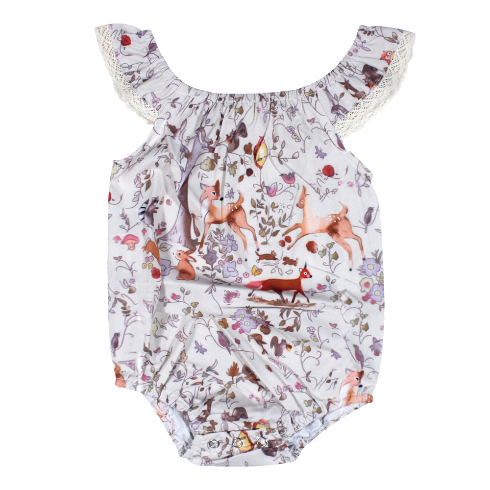 Newborn Baby Bodysuits 2018 Lace Baby Girl Elk Sleeveless Clothes Toddler Baby Girls Tiny Cottons Bodysuit Baby Onesie Christmas