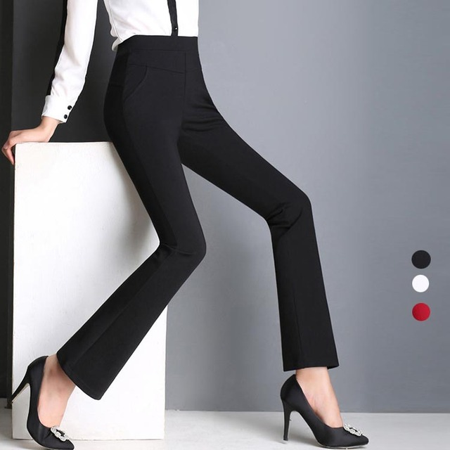 US $41.77 |Womens Bell Bottom Pants Plus Size Pull On Bootcut Tummy Control  No iron Office Flared Stretchy Cotton blend Women Trousers-in Pants & ...