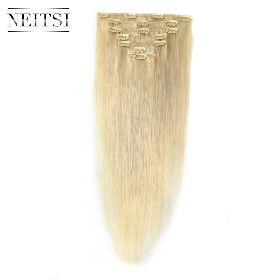 Neitsi Machine Made Remy Hair Clip In On Human Hair Extensions 20 60 613 Lightest Blonde