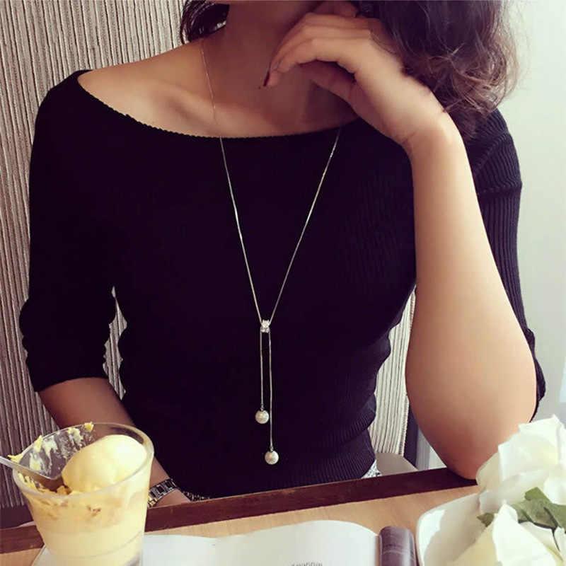 XIYANIKE 925 Sterling Silver proste moda dzikie łańcuch sweter naszyjniki i wisiorki dla kobiet w porządku biżuteria Collares VNS8259