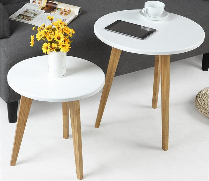 Eco Friendly Bamboo Creative Coffee Table Living Room Round Tea Side Tables