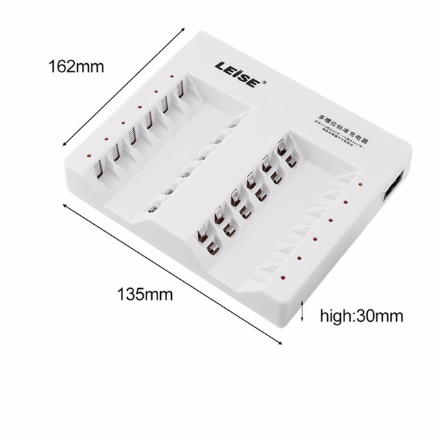 LEISE 12 Slots Smart Rechargeable Battery Charger Set Adapter For AA/AAA Ni-MH Nicd 12PCS 2200mAh AA Batteries US Plug