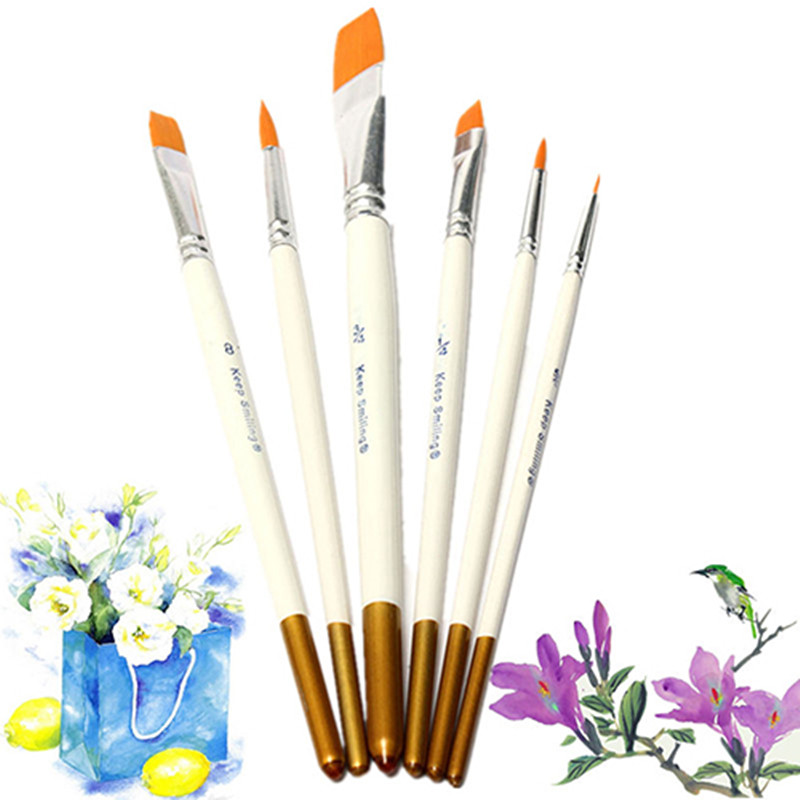 6PCS Professional Oil Painting Brushes Set Watercolor Acrylic Artist Paint Brush Nylon Hair Painting Brushes Pen Art Supplies