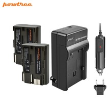 Powtree For Canon 2PCS 7.2V 2800mAh BP-511A BP511A BP 511A BP 511 BP511 BP-511 Digital Camera Battery + Charger For EOS 300D 5D 900mah for samsung bp 85a bp85a digital camera battery camcorder pl210 sh100 wb210