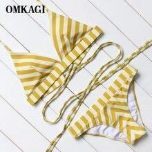 OMKAGI Striped Bikinis Women Swimwear Brazilian Top Bikinis Set Low Waist Swimsuit 2017 Summer Halter Bandage Beach Bathing Suit
