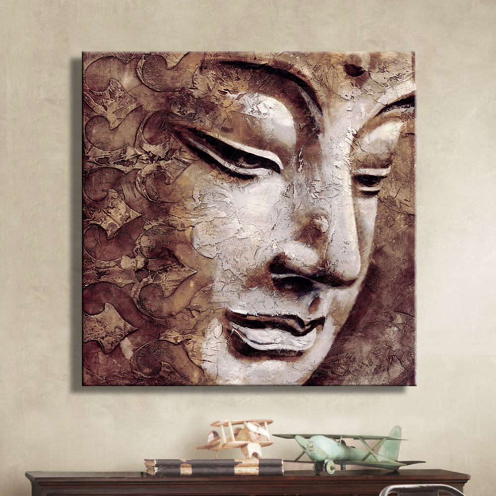 oil paintings canvas buddha wall art decoration artwork home decor on canvas modern wall. Black Bedroom Furniture Sets. Home Design Ideas