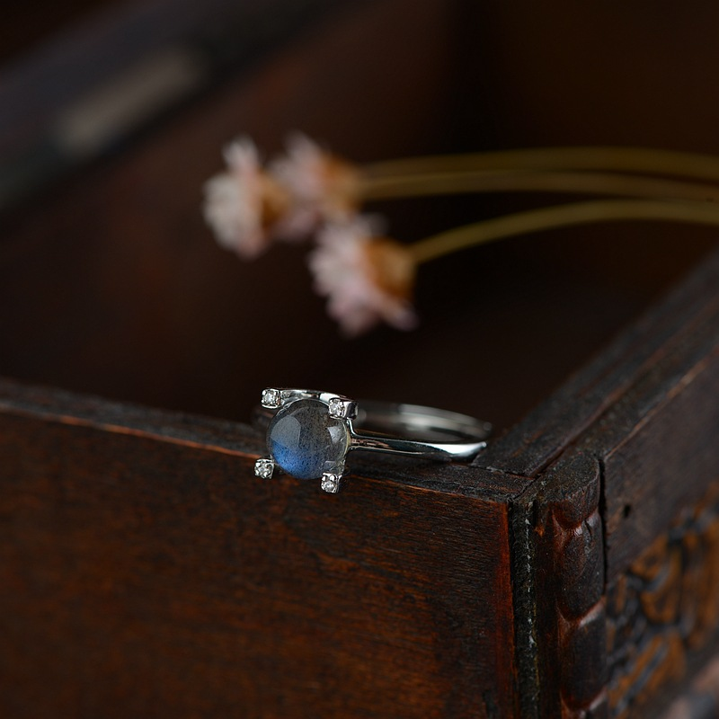 цена Nepal Natural Moonstone Fashion Ring For Women,Real 925 Sterling Silver Adujustable Ring For Women Original Handmade Fine Jewels