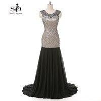 Formal Dress Women Black Mermaid Crystals Evening Dress Elegant Dress Backless Custom Made Black Evening Gown