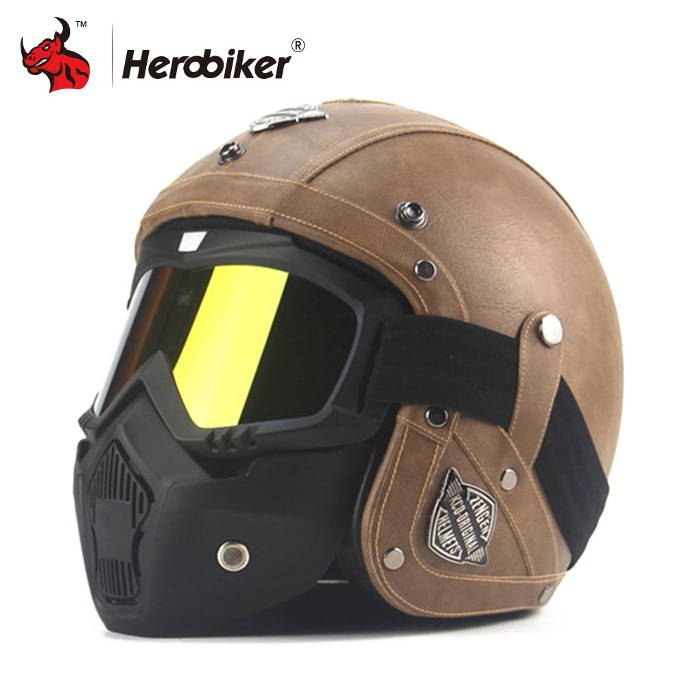все цены на New Retro Vintage German Style Motorcycle Helmet 3/4 Open Face Helmet Scooter Chopper Cruiser Biker Moto Helmet DOT Glasses Mask онлайн
