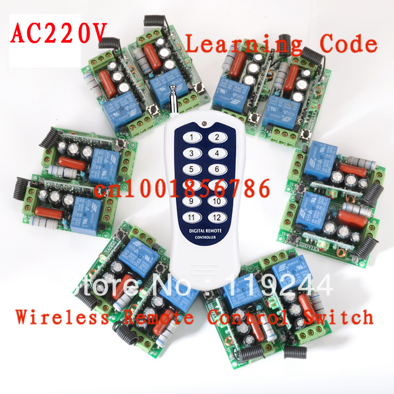 220V 12CH Wireless Remote Control Switch System Toggle Momentary Latched Light/Lamp LED SMD Access Remote Control System ON OF new ac 220v 30a relay 1 ch rf wireless remote control switch system toggle momentary latched 315 433mhz
