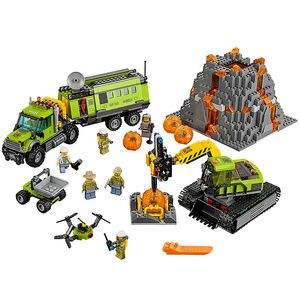 889 sztuk klocki do budowy City Volcano odkrywcy 60124 zabawki dla dzieci cegły wulkan baza eksploracji