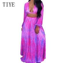 TIYE Vintage Party Women Dress Casual Elegant Full Sleeve Deep V-neck Elastic Chiffon Dresses Female Boho Style Beach Vestidos