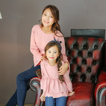Family clothing mother daughter t shirts mom and daughter tutu tops family look matching solid cotton