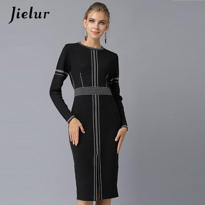 88993e8f1e7 Jielur otoño primavera nuevo elegante vestido negro mujer Europa moda Slim  OL mujeres Vestidos manga larga Split tejido Vestidos