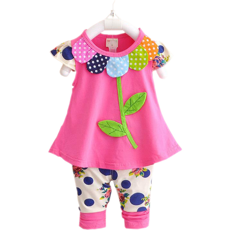 Baby girl clothing sets 2017 summer Newborns clothes set cotton t-shirt+pants suit infant short sleeves suits children girls set