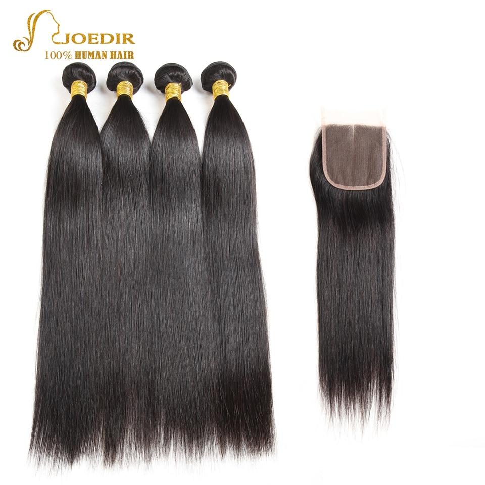 JOEDIR Pre-Colored Peruvian Straight Hair Closure 4 * 4 100% Human - Barbershop - Foto 2