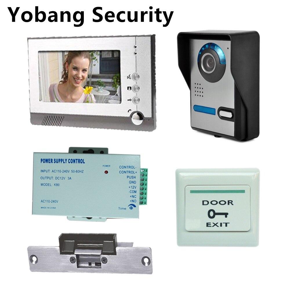 Yobang Security Freeship 7″Wired Intercom Doorbell IR Camera Video Intercom Monitor Doorbell Video Door Phone + Electric Lock