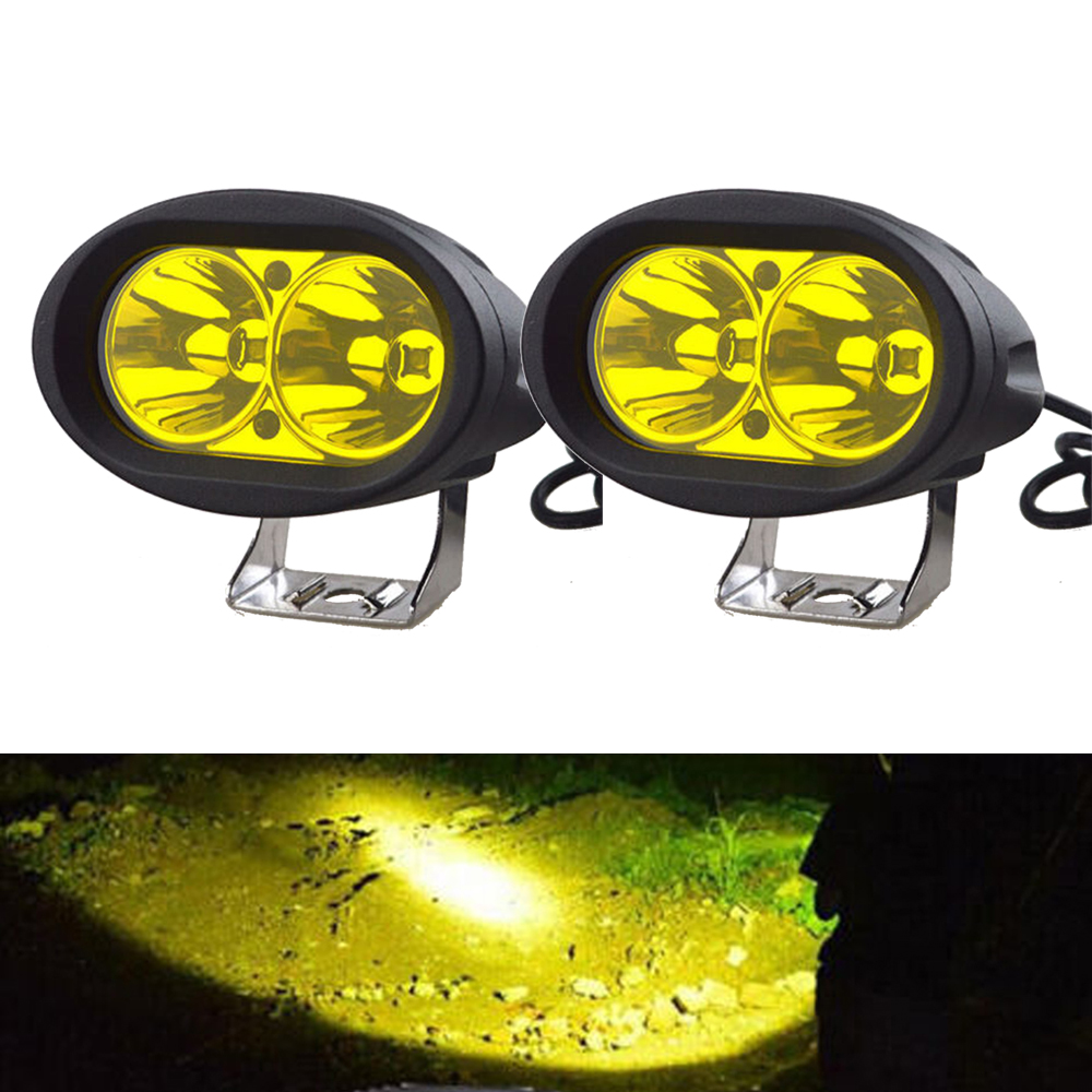 2pcs 4 Quot Oval Led Work Light 20w Driving Fog Light Yellow