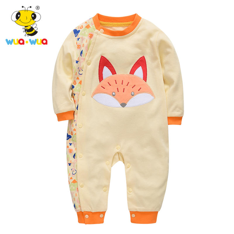 Wuawua Baby Rompers Children Autumn Clothing Infant Jumpsuit Long Sleeve Kids Boys Girls Wear warm thicken baby rompers long sleeve organic cotton autumn