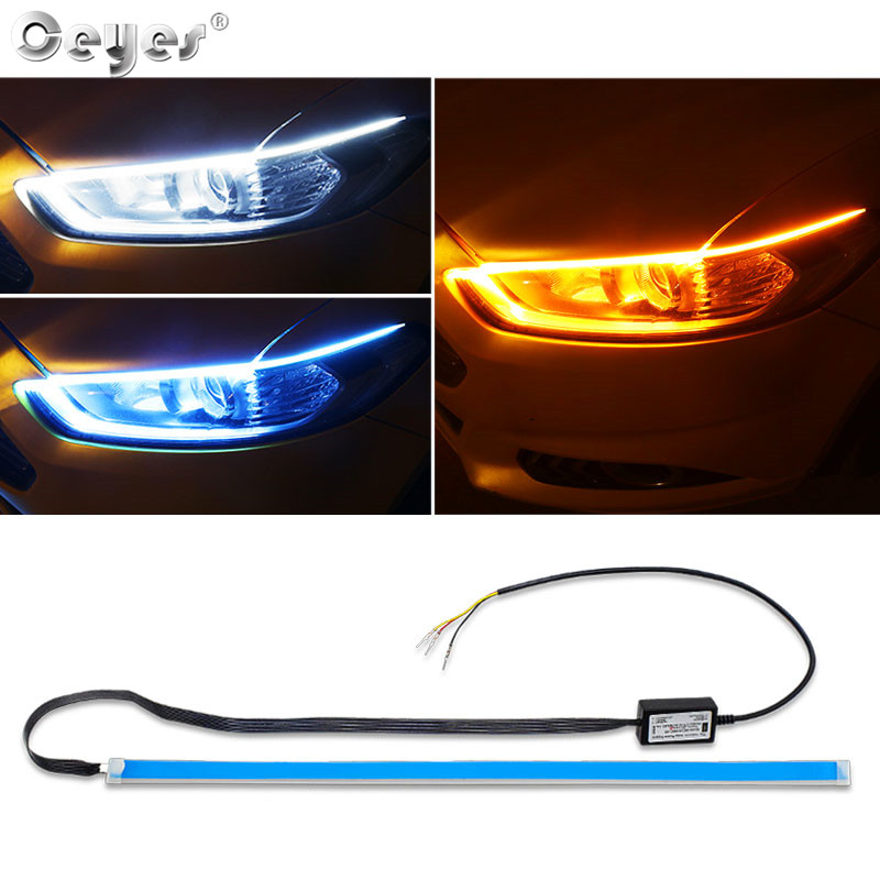 Ceyes Car Styling Flexible Day Flowing White Turn Yellow Light Led Car DRL LED Strip Lamp Headlight Daytime Running Accessories