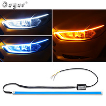 Ceyes Car Styling Flexible Day Flowing White Turn Yellow Light Led DRL LED Strip Lamp Headlight Daytime Running Accessories