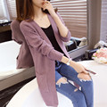 Women Cardigans 2016 New Cashmere Full Sleeve Long Cardigan Sweaters Fashion Open Stitch Solid Knitted Jackets Slim Tops Mujer