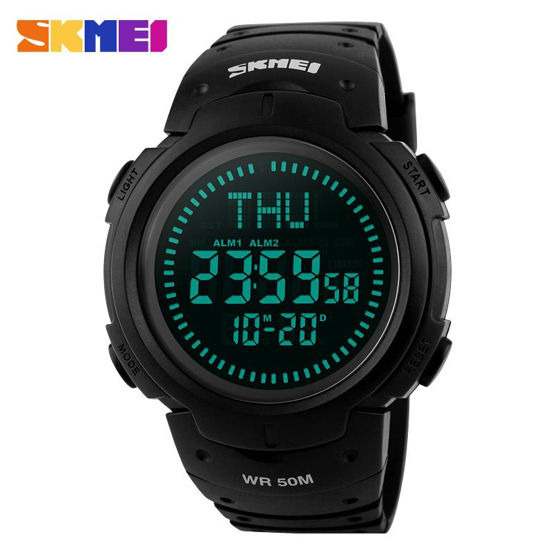 Prix pour Skmei hommes numérique en plein air intelligent montres temps du monde dst boussole alarme calendrier horloge relogio masculino montres de sport 1231 #