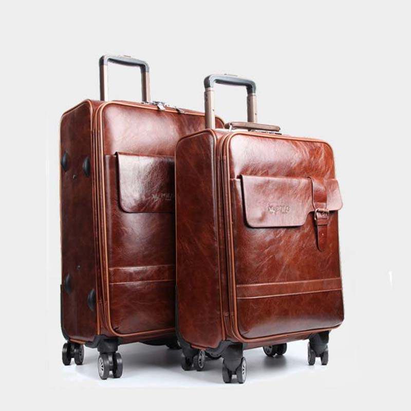 Der GüNstigste Preis Letrend Roll Gepäck Spinner Männer Business Trolley Passwort Koffer Räder 20 Zoll Tragen Auf Reisetasche Pu Leder Stamm Reinweiß Und LichtdurchläSsig