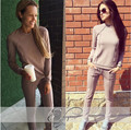 Tracksuits Real Polyester Full None O-neck Drawstring The New 2016 Suit Women Fashion Contracted Fleece + Pants