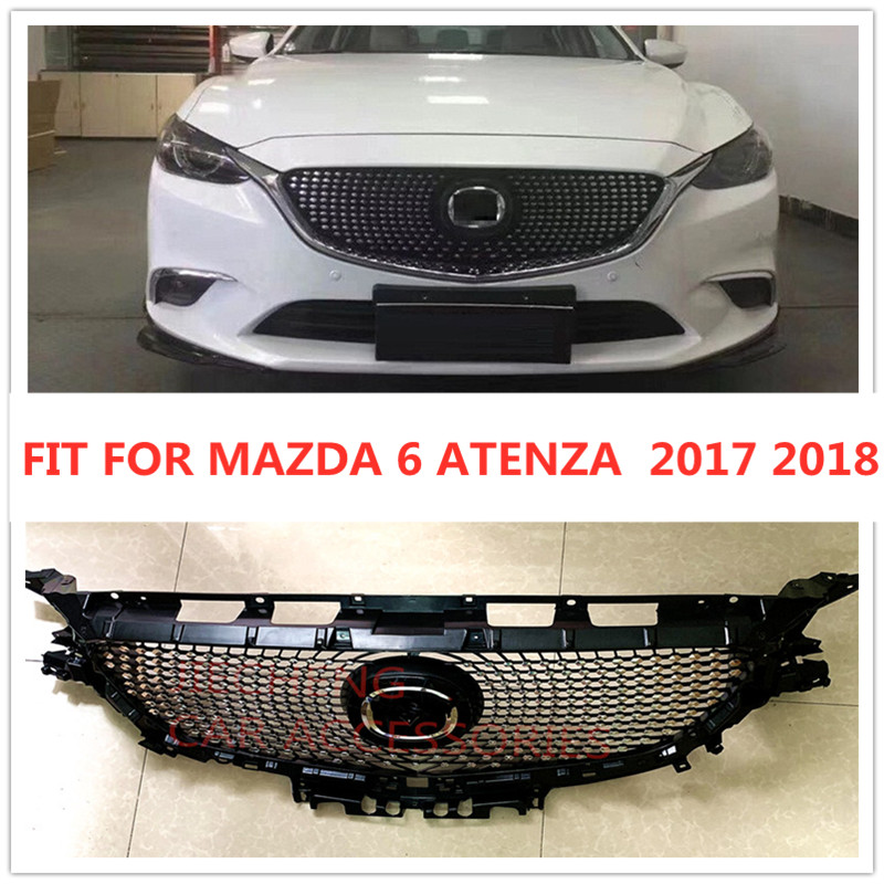 MODIFIED DIAMOND FRONT RACING GRILLE GRILLS ABS BUMPER MESH MASK TRIMS COVER FIT FOR MAZDA 6 ATENZA 2017 2018 GRILL CAR STYLING