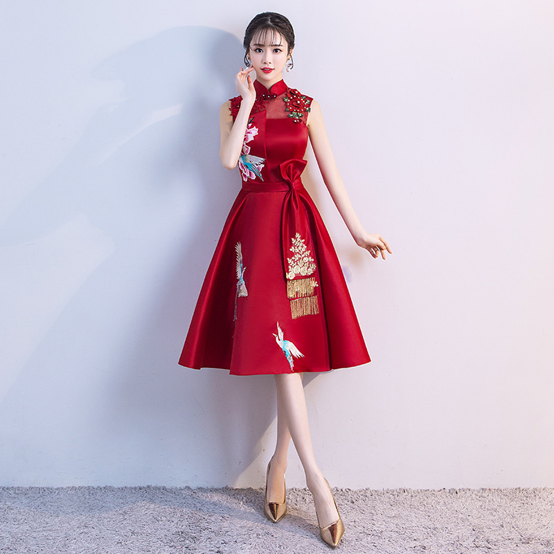 Ladies Evening Party Dress 2019 Summer Vintage Mandarin Collar Qipao Floral Elegant Chinese Bride Wedding Cheongsam