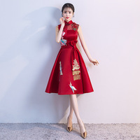 Ladies Evening Party Dress 2019 Summer Vintage Mandarin Collar Qipao Floral Elegant Chinese Bride Wedding Cheongsam Vestidos
