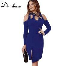 Dear lover 2017 Vestidos Curtos Women Autumn Winter Dress Black Gold Metallic Trim Long-sleeve Bodycon Party Dresses LC61205