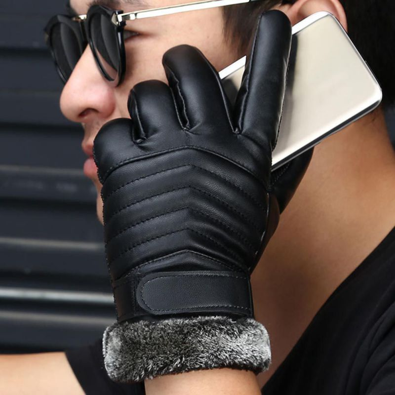 New Designer Mens Gloves High Quality Genuine Leather Sheepskin Mittens Warm Winter Gloves Smart Phone/Ipad One Pair