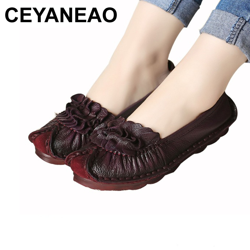 все цены на CEYANEAO Spring autumn fashion women shoes handmade ladies flat shoes leather comfortable soft soled mother shoes size 35-40