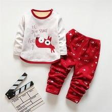 BibiCola/на осень-зиму детские пижамы комплект хлопковые пижамы с длинным рукавом футболка+ Штаны 2 шт. костюм девушки повседневная одежда в мультипликационном стиле