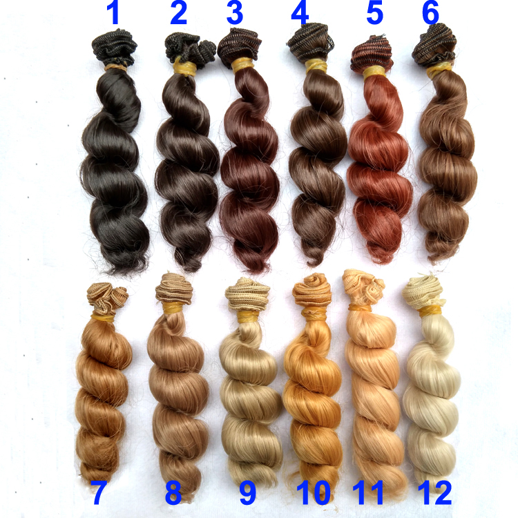 6 or 12 pieces/lot  15cm x 100cm brown flaxen coffee black brown natural color curly doll wig hair for 1/3 1/4 1/6 BJD diy 1 piece 15cm 100cm brown coffe black light gold color heat resistant curly wave wig hair for 1 3 1 4 bjd diy