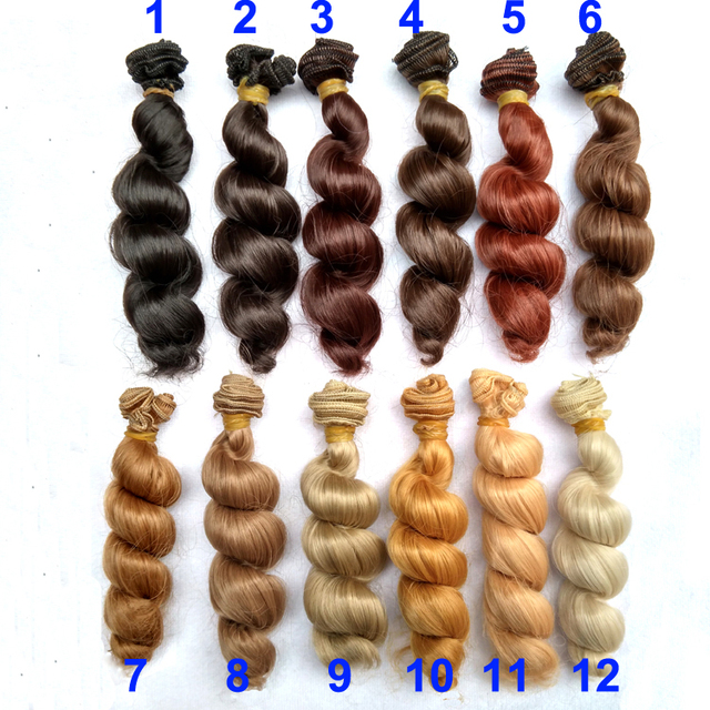 6 or 12 pieces/lot  15cm x 100cm brown flaxen coffee black brown natural color curly doll wig hair for 1/3 1/4 1/6 BJD diy