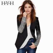 HYH HAOYIHUI 2018 Office Lady Single Button Coat Black PU Long Sleeve Sequined Contrast Color Block Women Blazers цена 2017