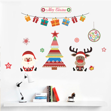 Merry Christmas Tree Santa Claus Deer Wall Stickers For Kids Rooms Cartoon PVC Decorative Wall Decals New Year Mural Art Gift цена