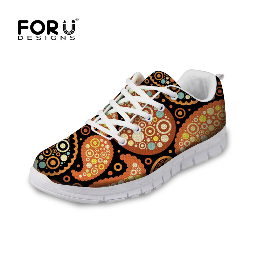 FORUDESIGNS Paisley Printed Flats Shoes Women Casual Sneakers Brand Designer Lightweight Mesh Walking Shoes for Female Zapatos glowing sneakers usb charging shoes lights up colorful led kids luminous sneakers glowing sneakers black led shoes for boys