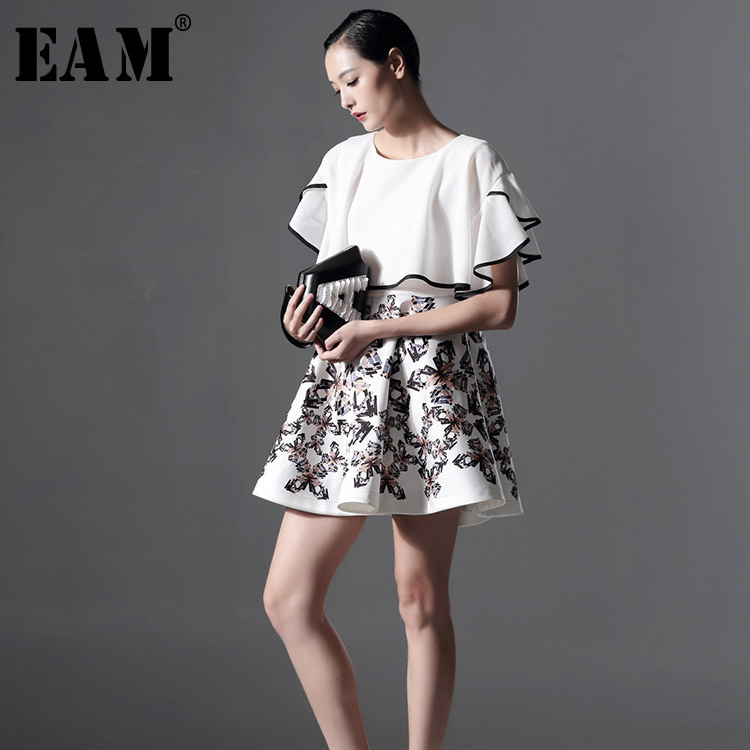 [EAM] New Tailor-made 2018 New Summer Fashion Tide Lotus Leaf Sleeve Split Joint Butterfly Printing Round Collar Dress AZ1293