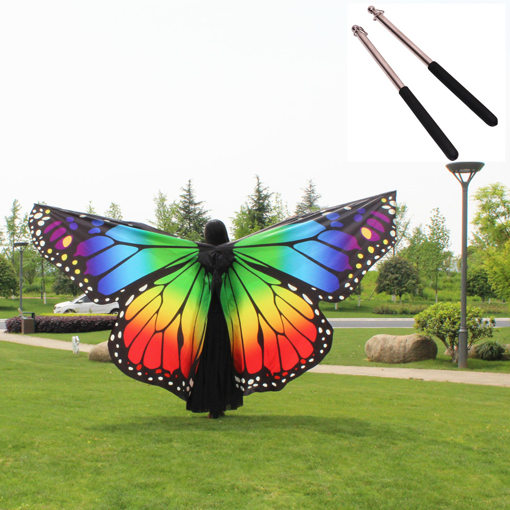 Butterfly Wings + Sticks Adult Kid Belly Dancing Costume Bufandas Isis Wings Bollywood Jewelry Women Butterfly Wings Sticks Bag