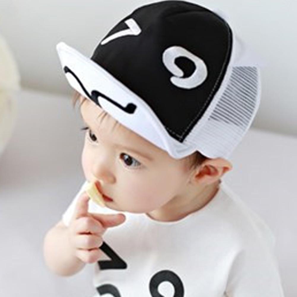 79e6d9e91 US $2.53 30% OFF baby summer hat White and Black Baby Baseball Hat Baby  Hats Baseball Cap Baby Boy Beret Wave Rivet Outdoor Baseball Sun HatCap-in  ...