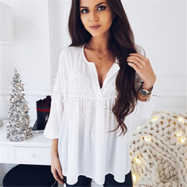 1b45854d0bc New Blouse Tops Fashion Women White Chiffon Blouses Sexy Ladies Pearl Shirt  Blouse Casual V neck Loose Shirts-in Blouses & Shirts from Women's ...