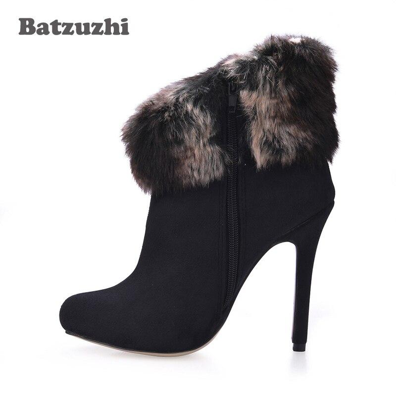 En Bottes 2018 Zapatos Mode De D'hiver Noir 12 Chaud Nouvelle 43 Chaussures Mujer À Cm Talons Batzuzhi 35 Peluche Haute L'intérieur Femmes xwBYIqqAd