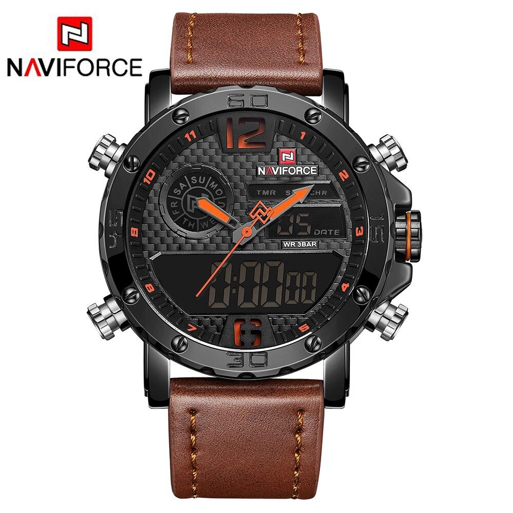 Relogio Masculino NAVIFORCE New Men Military Sport Watches Luxury Brand Men's Leather Quartz Watch Male Led Analog Digital Clock 1