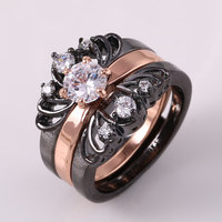 ZHE FAN NEW Women 3 Rings Set AAA Zirconia Black Gold Color Fashion CZ Ring Female Party Valentines Day Jewelry Size 7 8 9